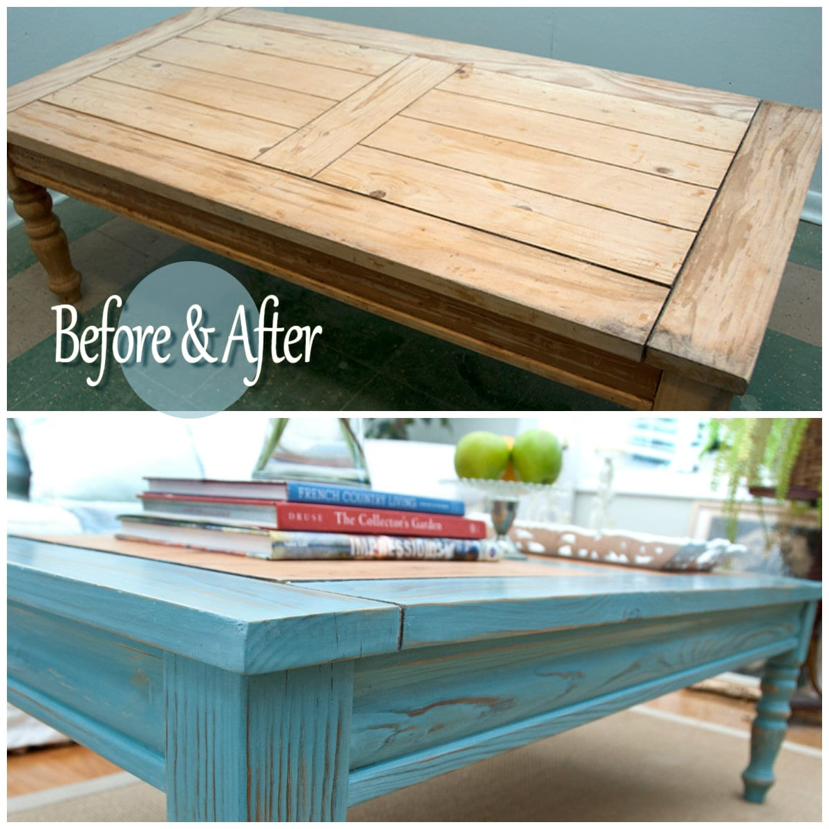 milk painted table before and after