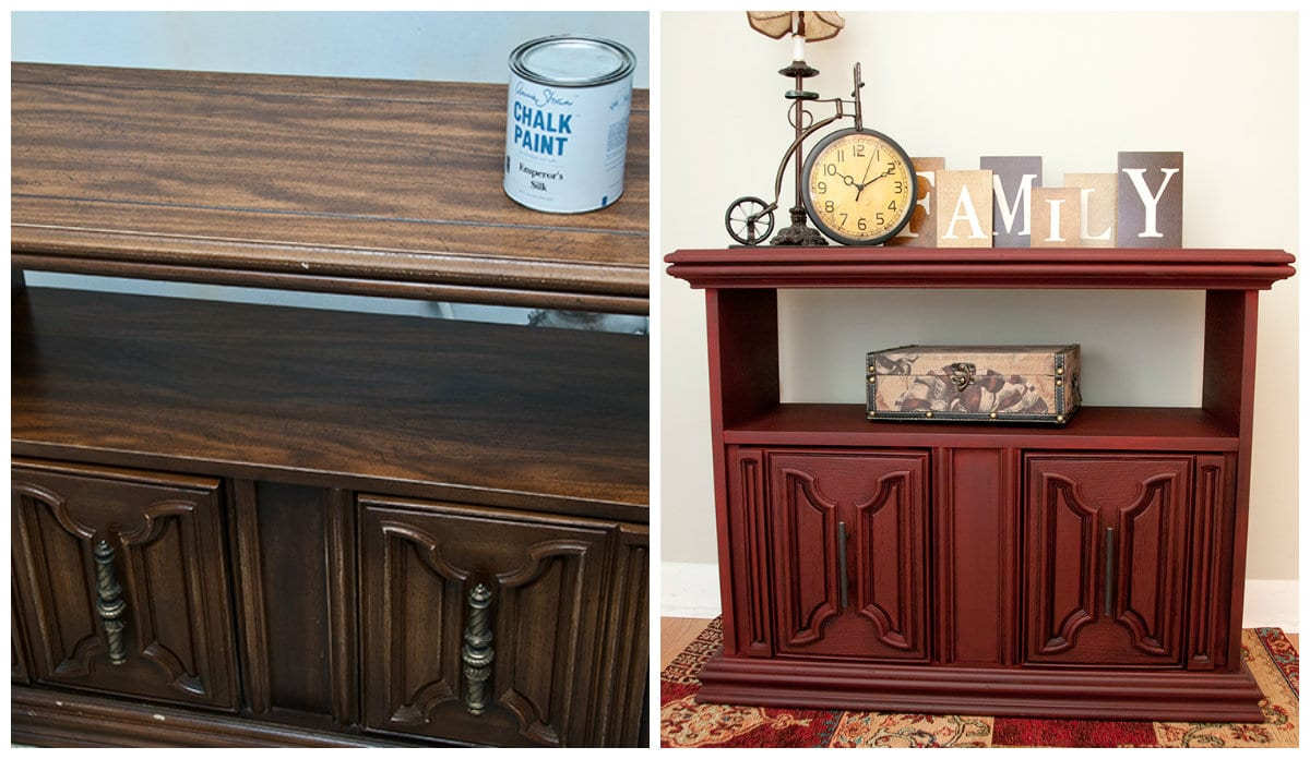 before&after sprayed chalk painted credenza