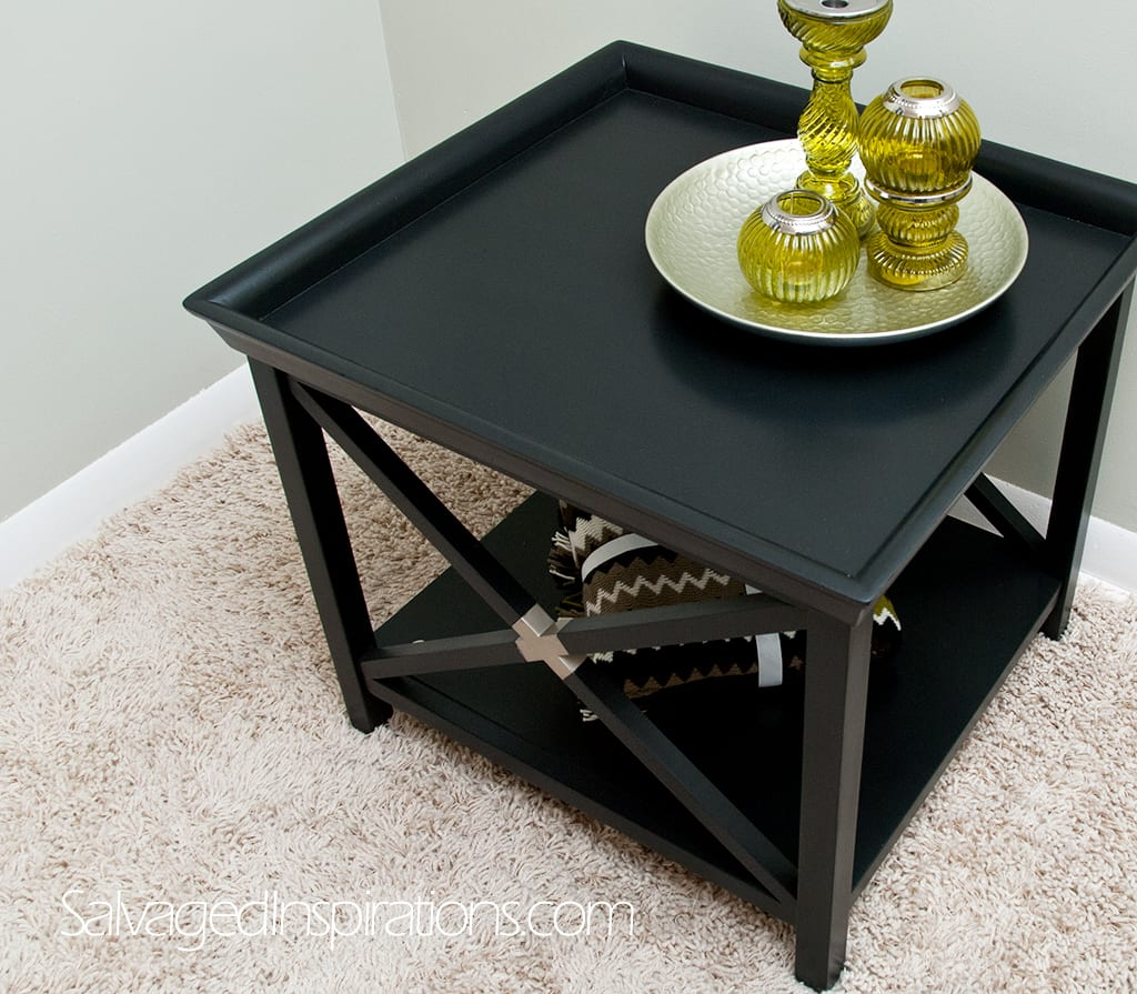 Painted Black Table repaired w Edge Banding