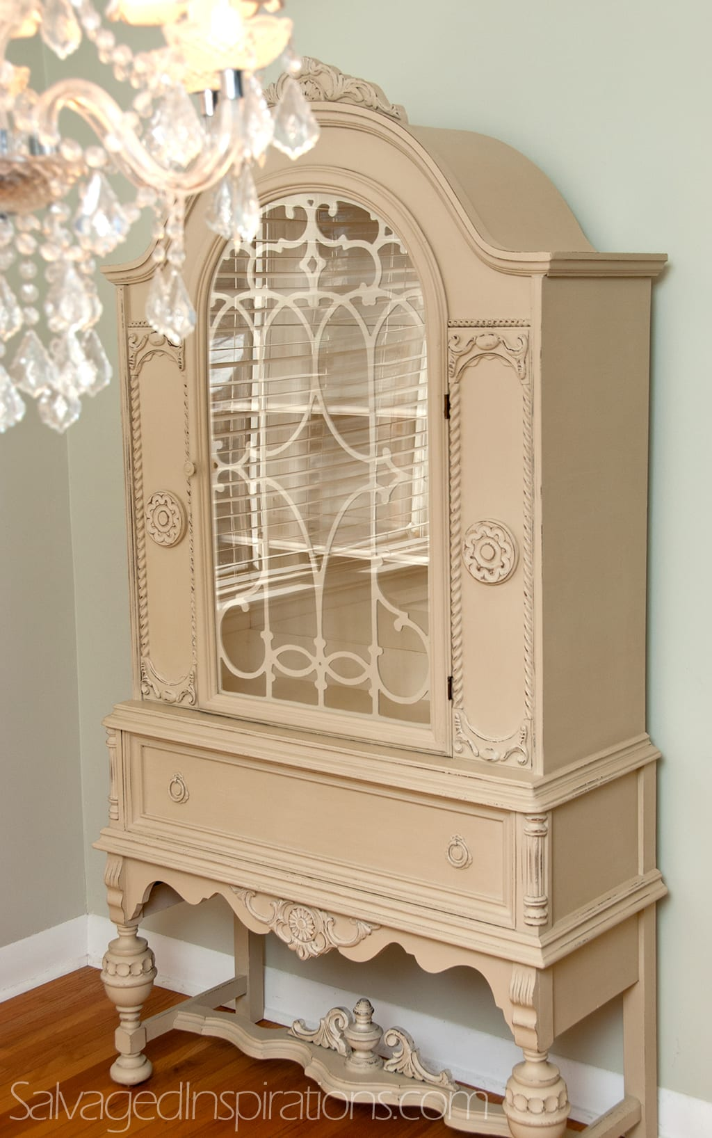 A Small World And Custom Chalk Painted China Cabinet