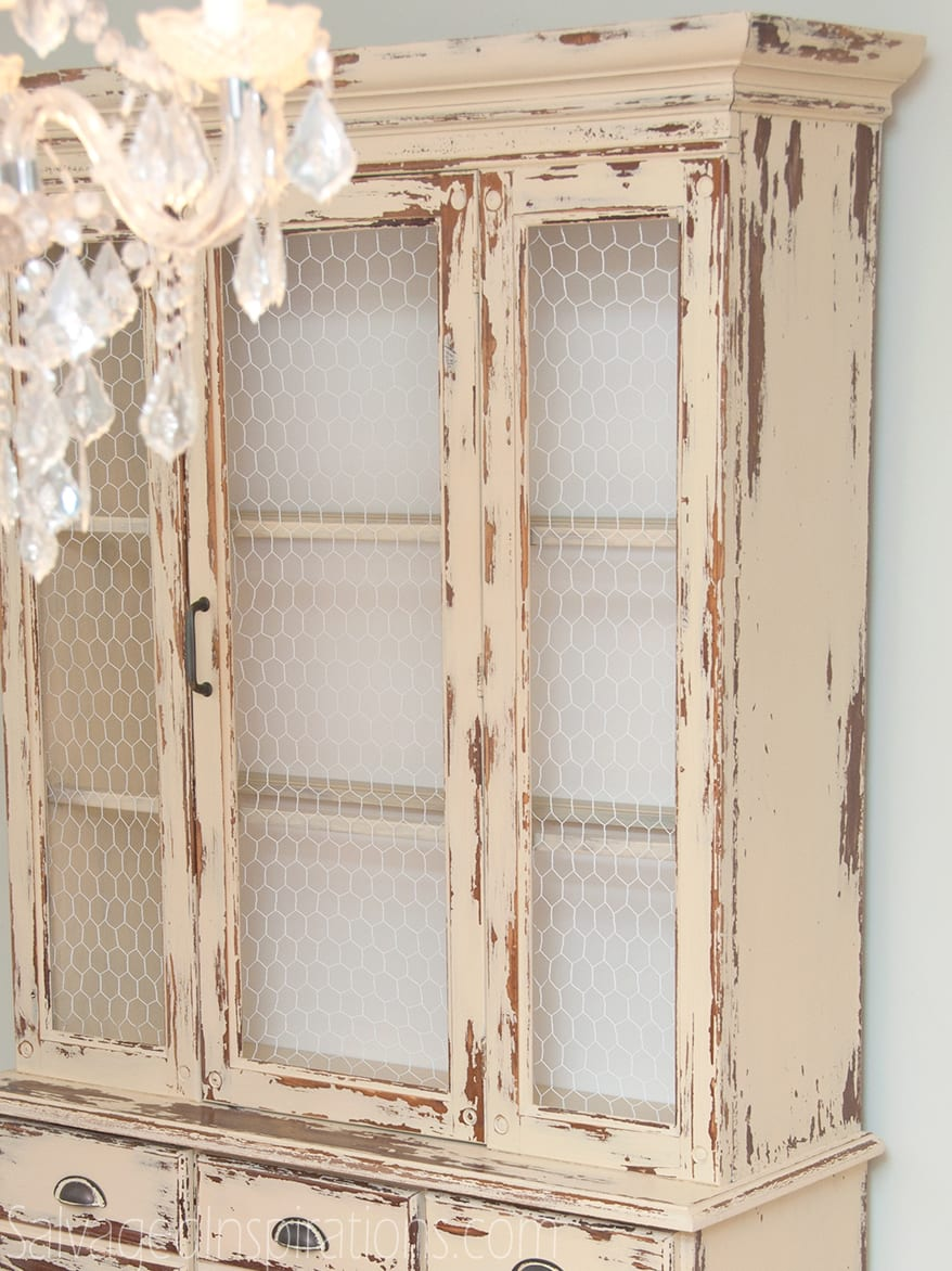 Dining Hutch By Replacing All The Glass With Chicken Wire FarmhouseChickenWireCabinet 1