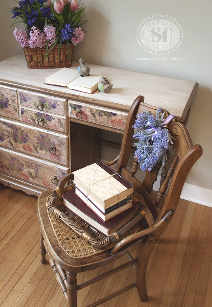 decoupaged desk w chair