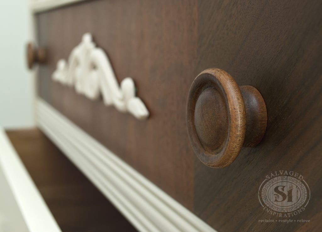 Stained Wood Knobs on Waterfall Drsr