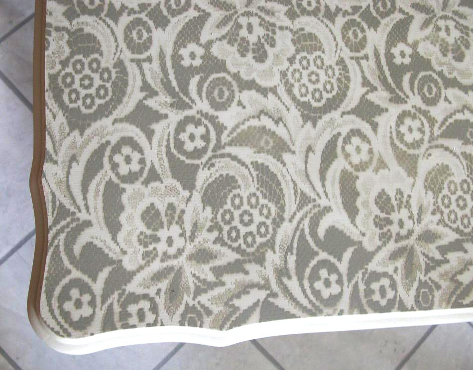 lace stenciled table top -close up