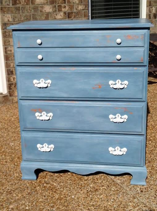 milk painted dresser after SI
