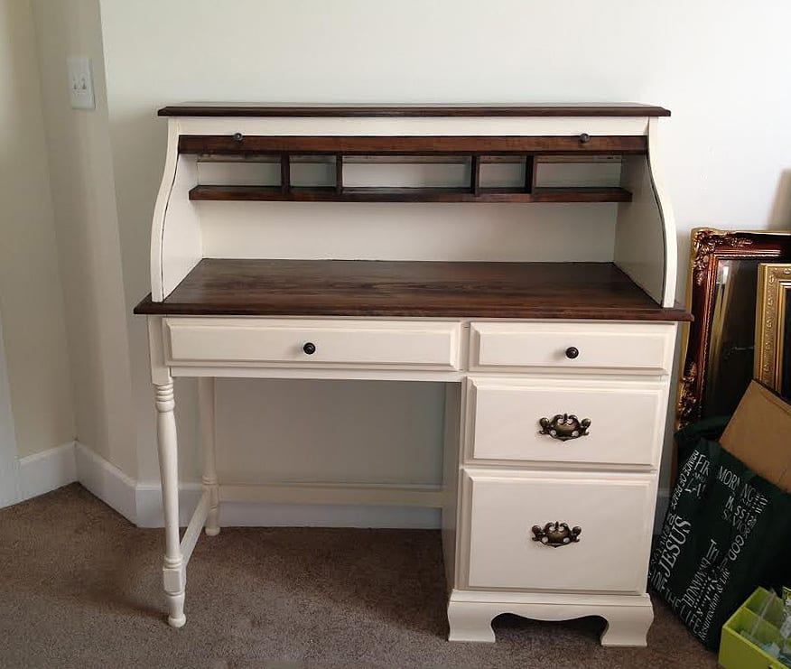 painted and stained wood desk (JB)