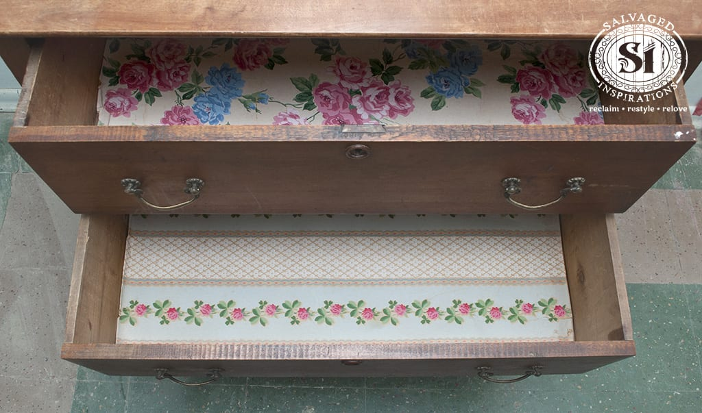 Old Dresser Lined Drawers