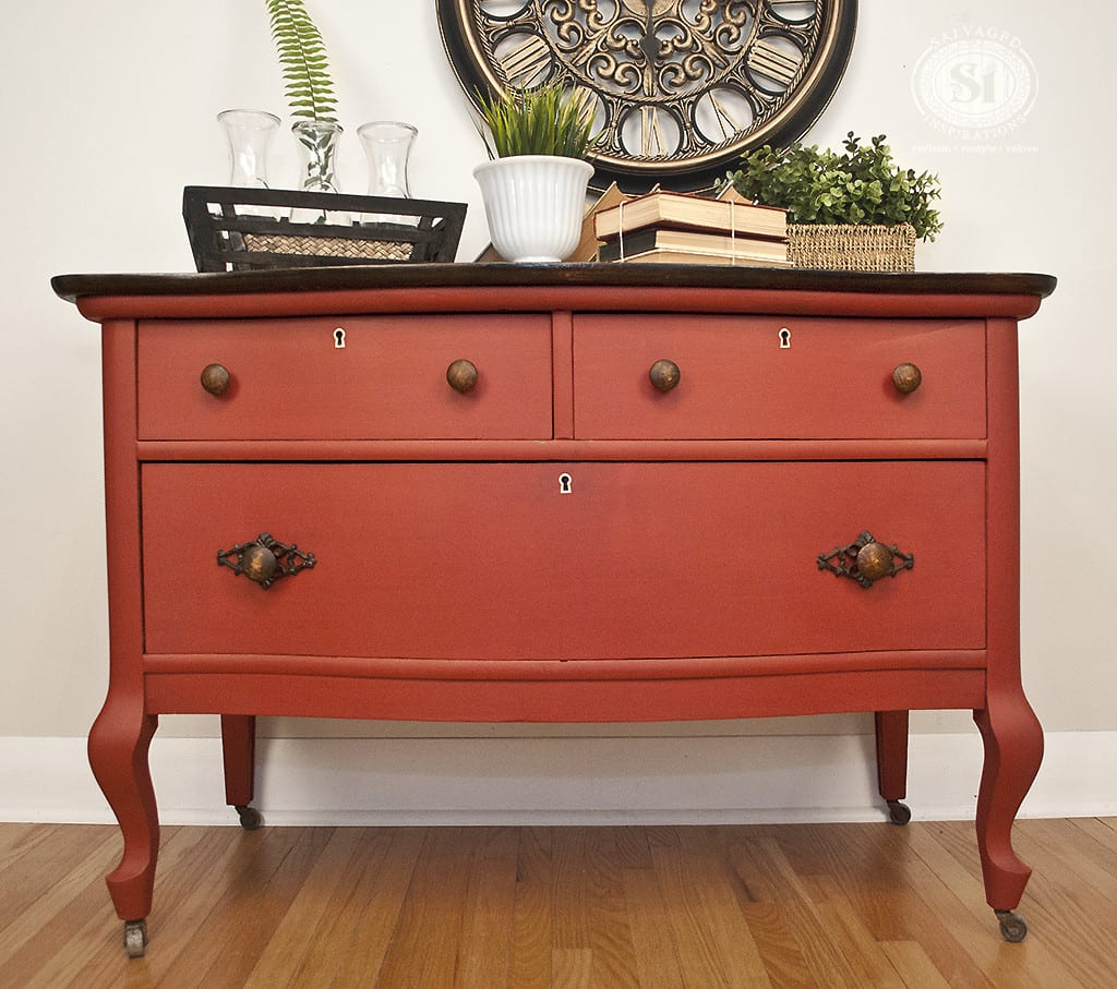 painted red furniture. chalk painted vintage lowboy in moulin rouge red furniture