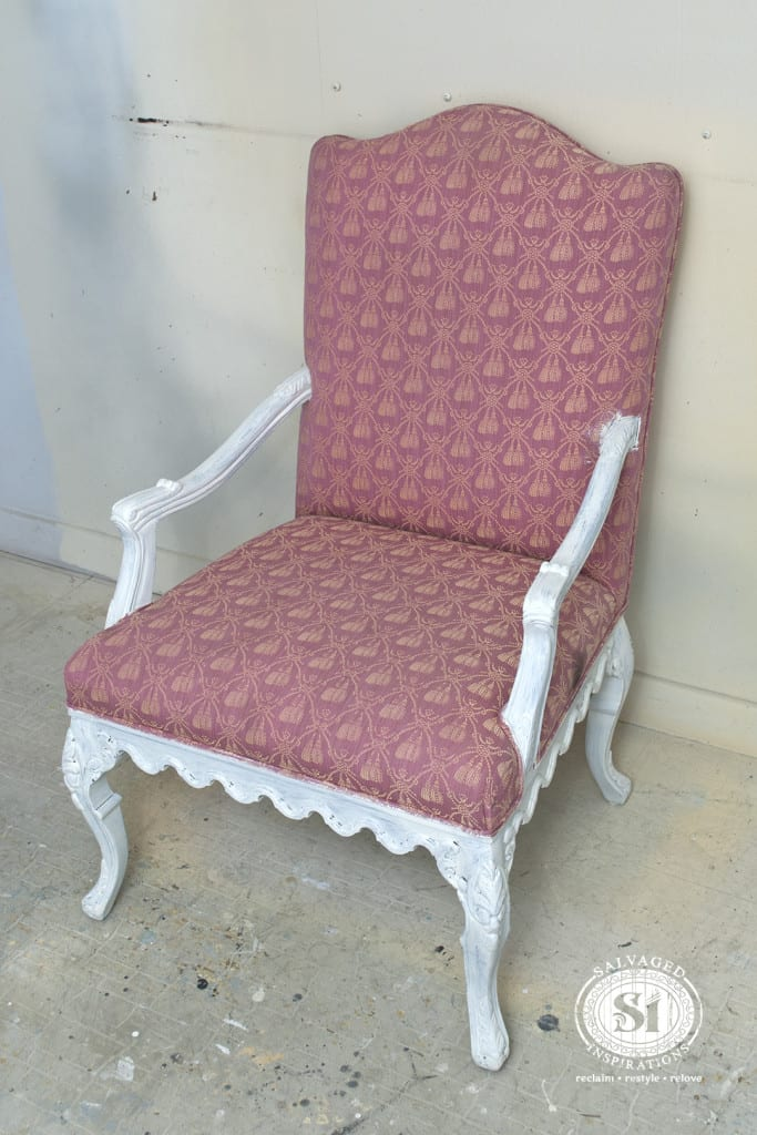 painting fabric with chalk style paints granny chair makeover salvaged inspirations. Black Bedroom Furniture Sets. Home Design Ideas