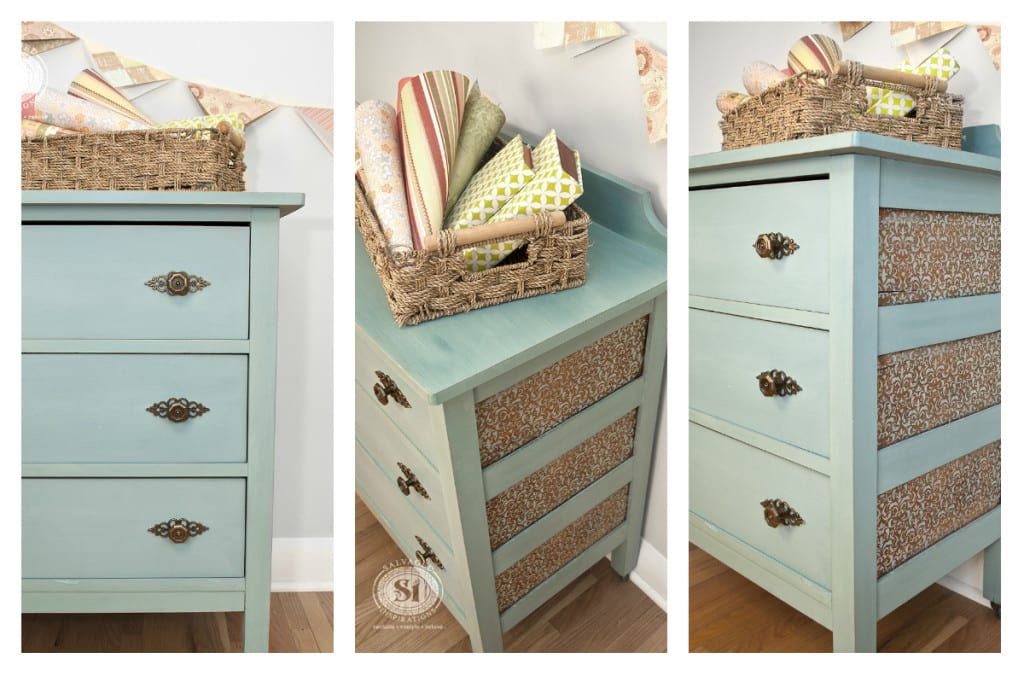 Stencil Milk Painted Salvaged Dresser!