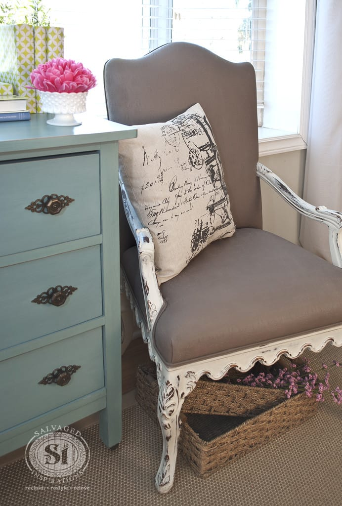 painting fabric furniturePainting Fabric with Chalk Style Paints Granny Chair Makeover