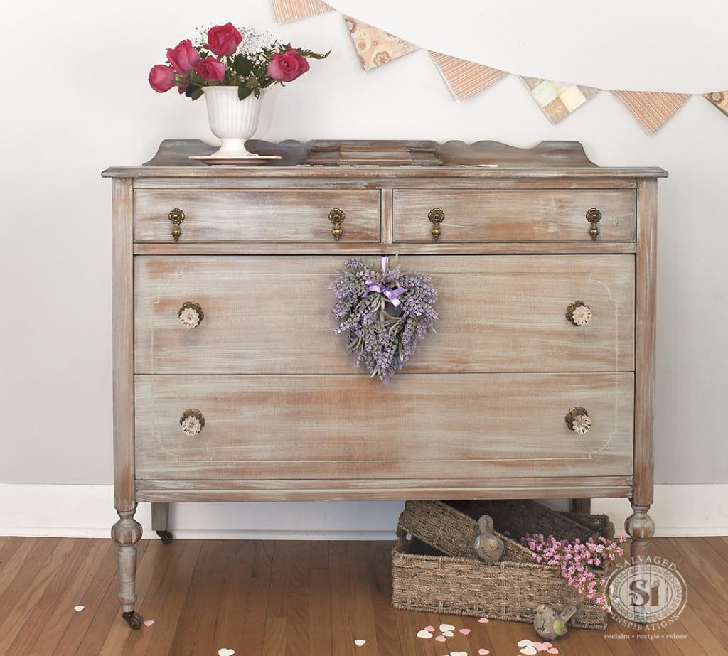 grey washed antique dresser