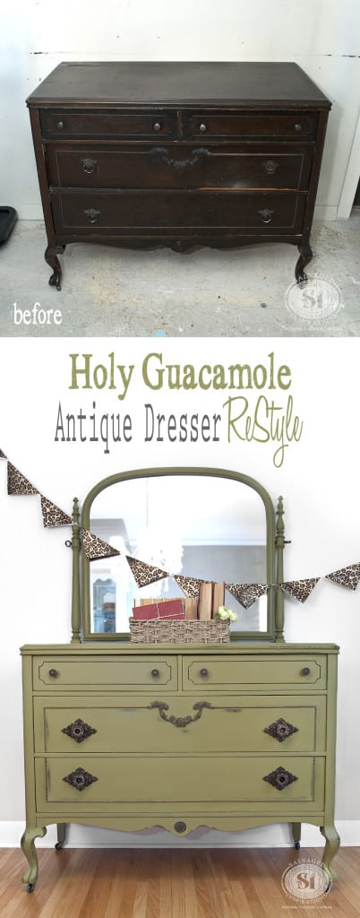 Antique Dresser - Holy Guacamole Dixie Belle Paints Restyle