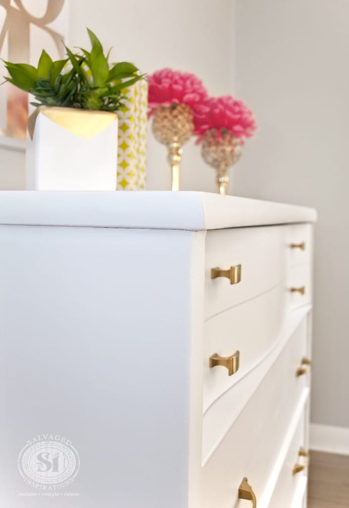 Gold and White Dresser - SW 7006 Extra White