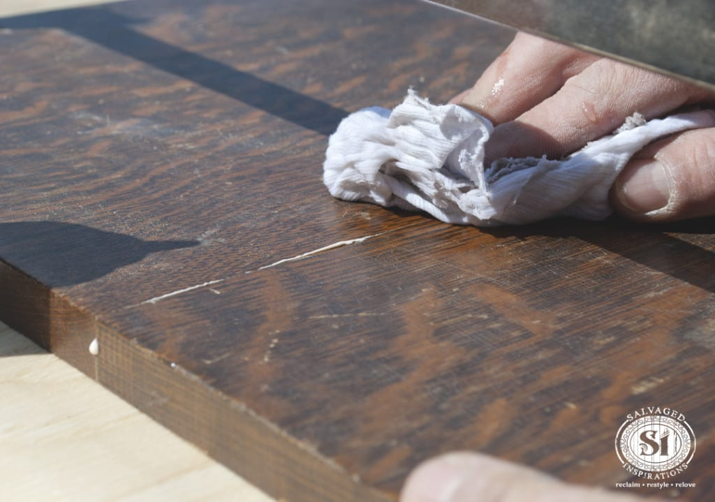 Wiping Away Wood glue