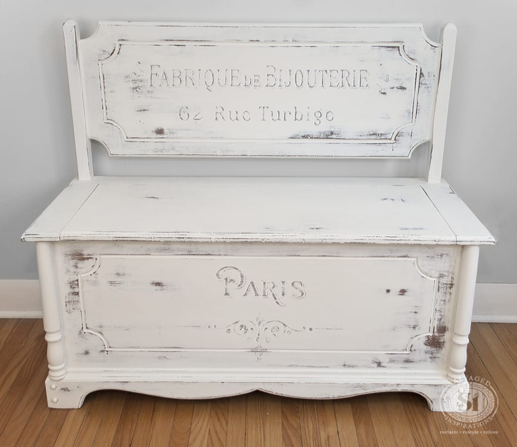 French Script Painted Bench-Chest