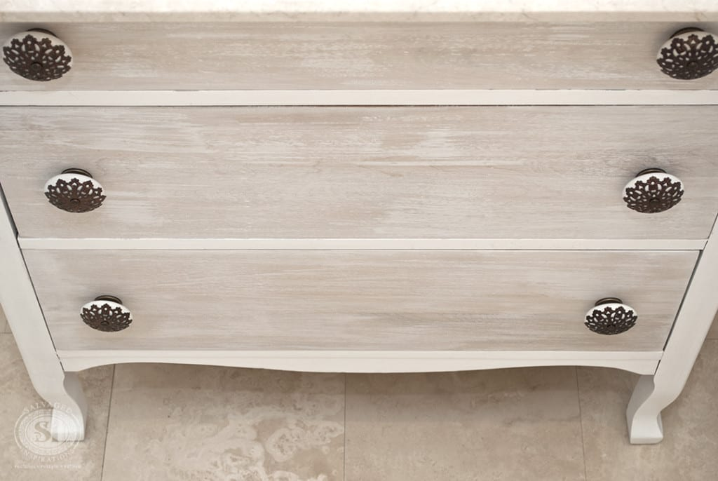 White Washed Vanity Drawers