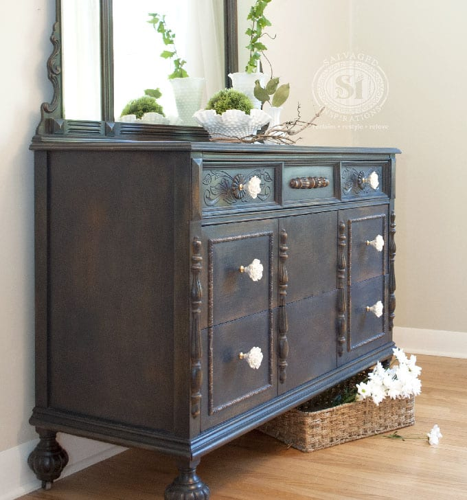 GF Coastal Blue Dresser w Greenery