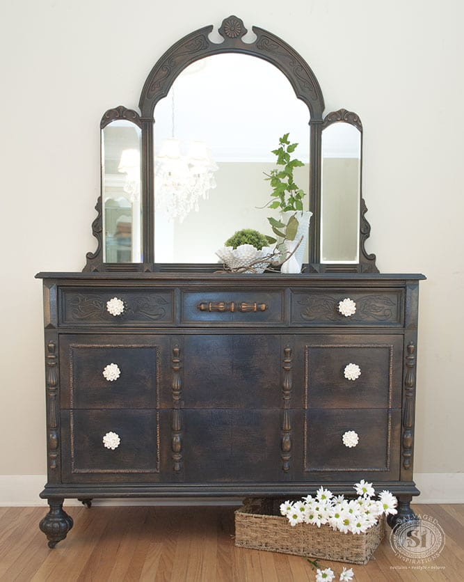 General Finishes Coastal Blue Dresser + Mirror