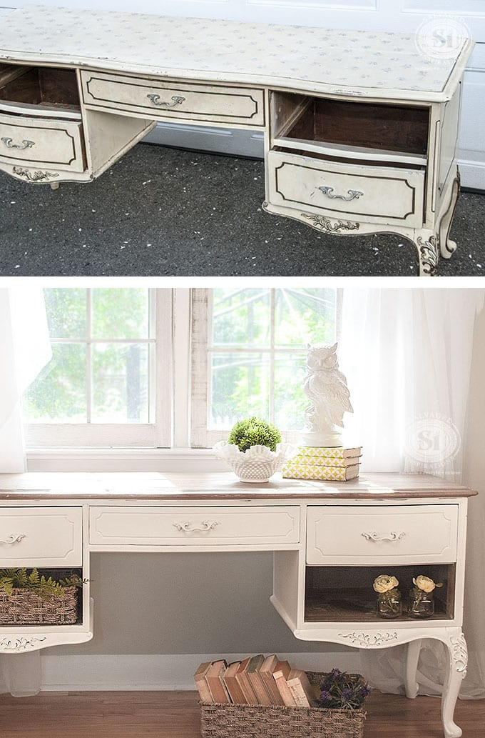 Salvaged French Provincial Desk Before&After