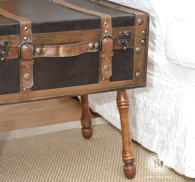 Salvaged Trunk & Legs as Side Table