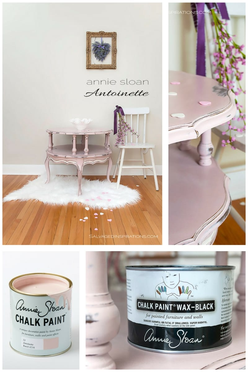 Antoinette Chalk Painted Table w Black Wax