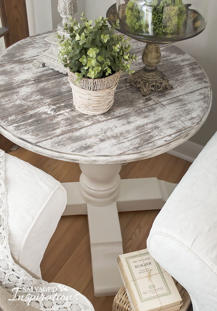 Cable Spool Table w Barn Wood Faux Top