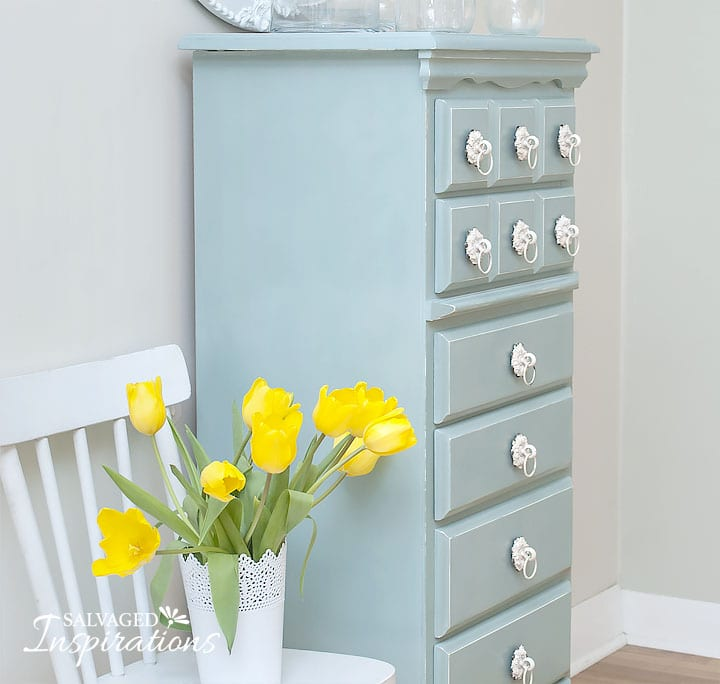 Annie Sloan Chalk Painted Lingerie Chest - Duck Egg