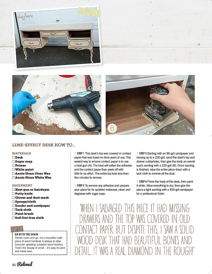 Liming w Annie Sloan Wax - ReLoved Magazine Salvaged Inspirations Feature