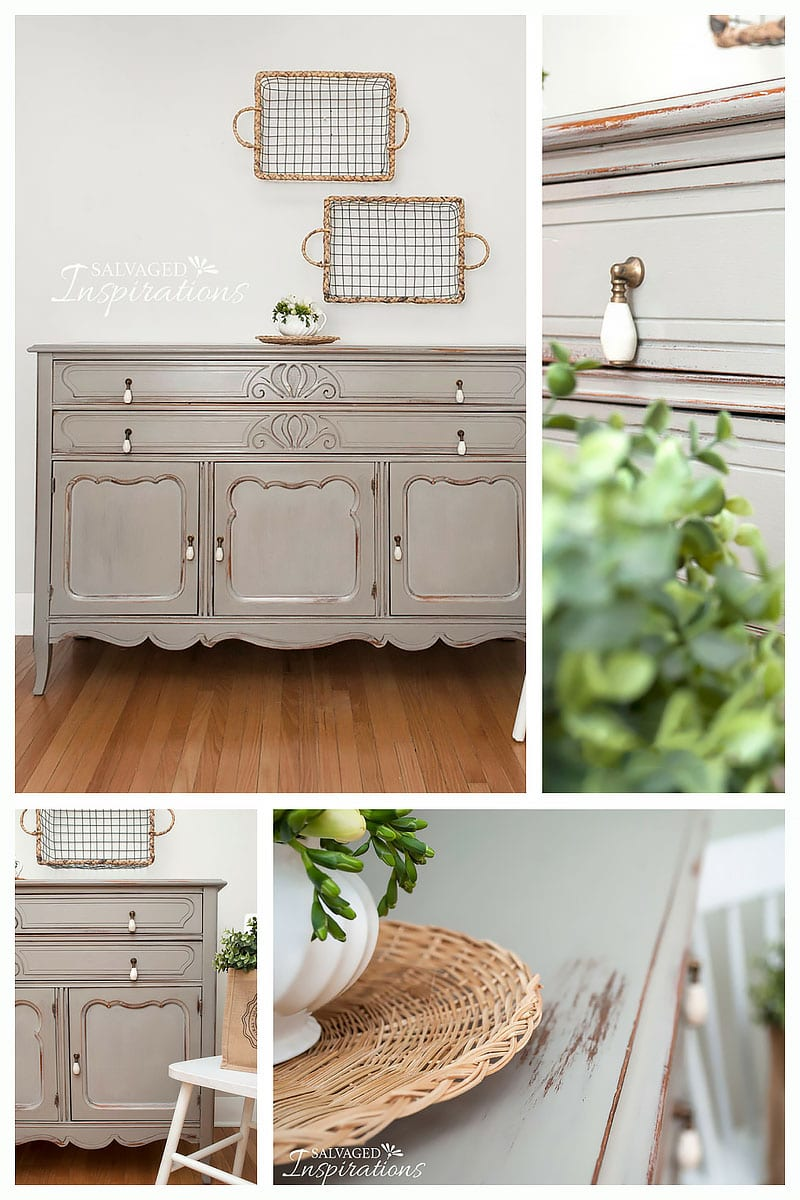 Wet Distressed French Linen Painted Thrift Buffet -Collage