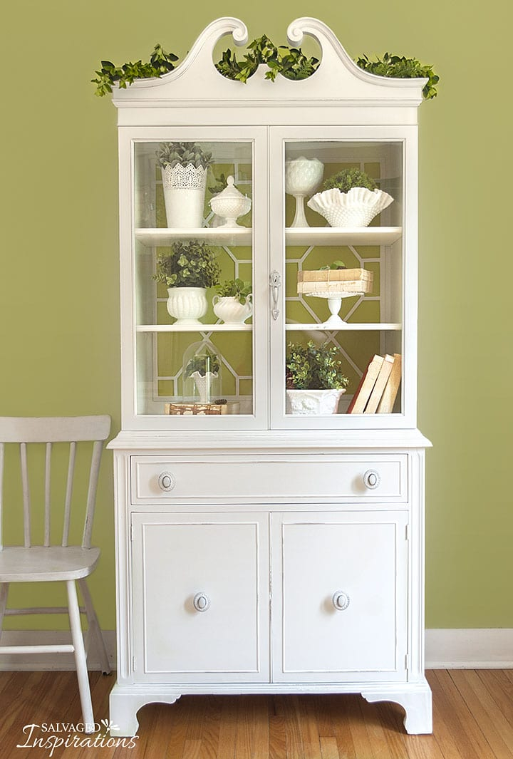 Painted China Cabinet with Fretwork Back