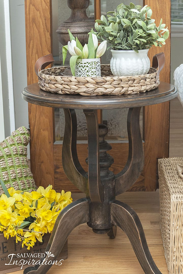 Side Table Restyled with Black Wash