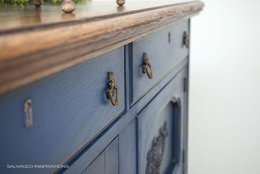 Close Up of Dixie Belle Painted Blue Buffet w Bronze