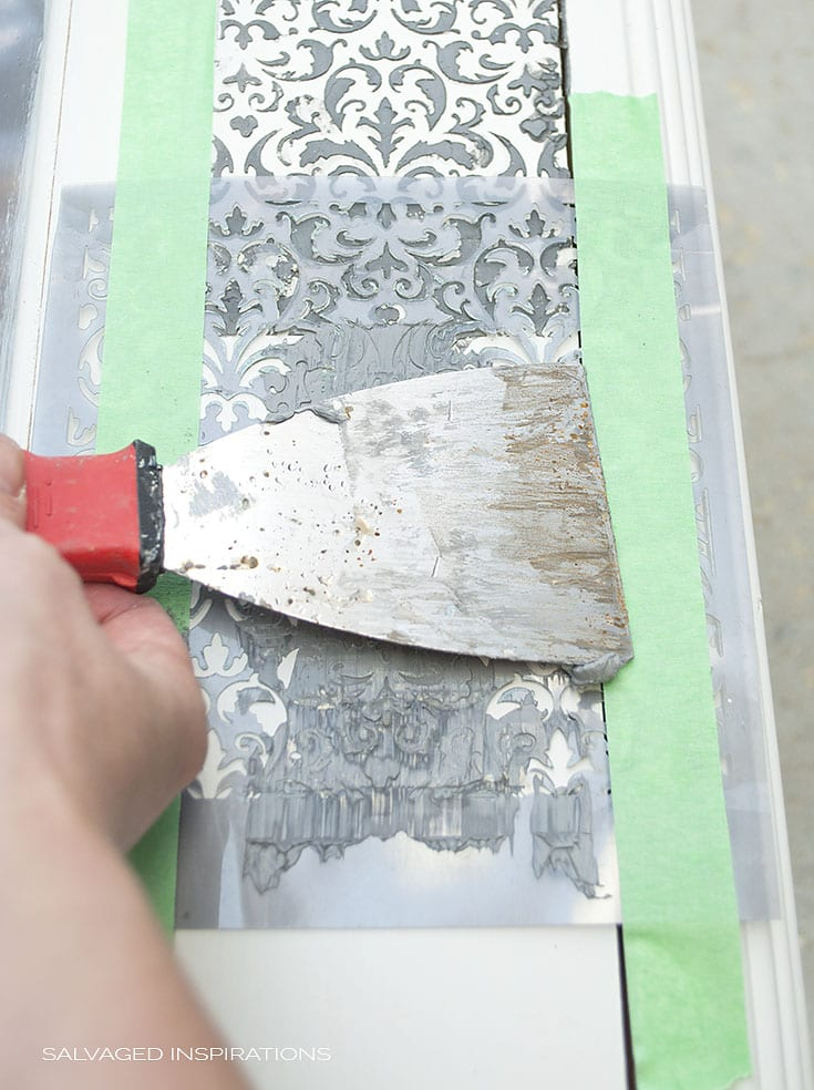 Creating a Raised Stencil Design on a Goodwill Painted Cabinet