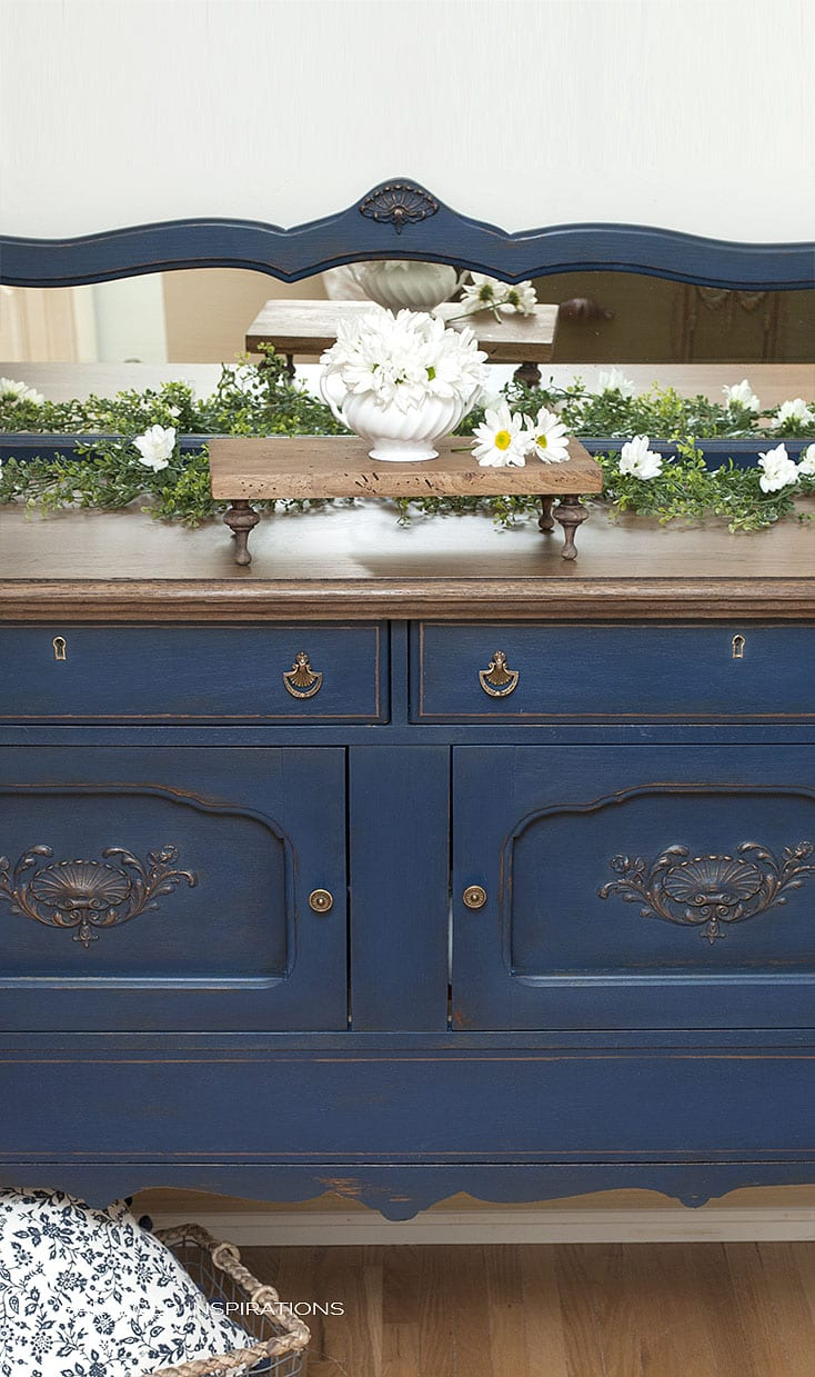 Front View of Buffet w Back Mirror