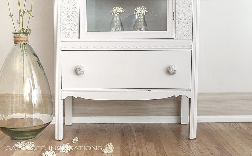 Queen Annes Lace Knobs on Raised Stencil Cabinet