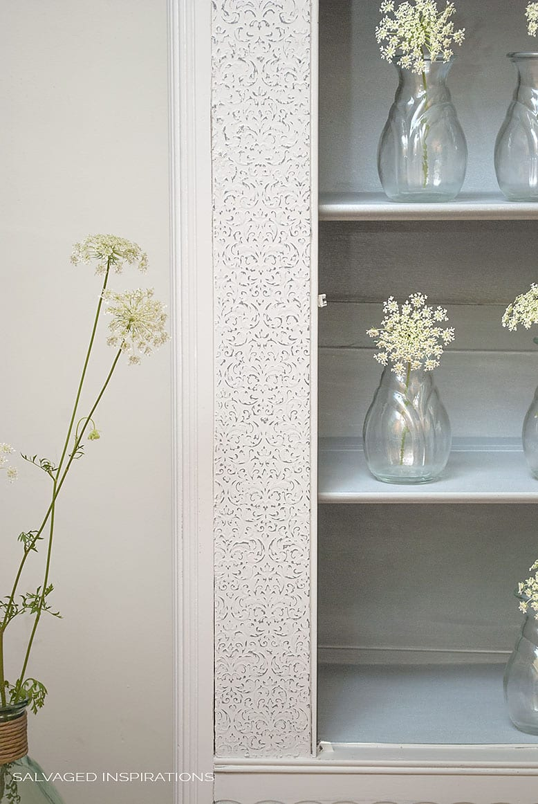 Raised Stencilled Panel on Salvaged Goodwill Painted Cabinet