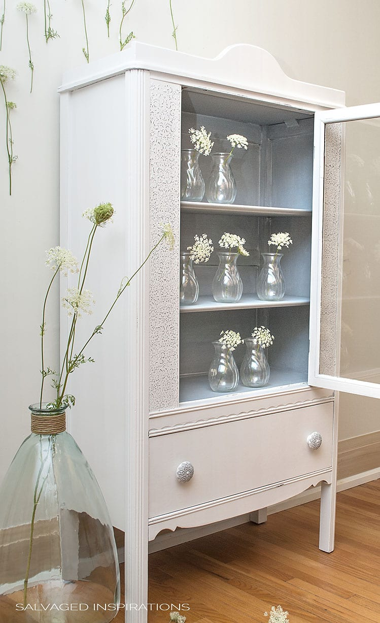 Side View of Salvaged Goodwill Cabinet Painted in Dixie Belle's Fluff w Raised Stencil