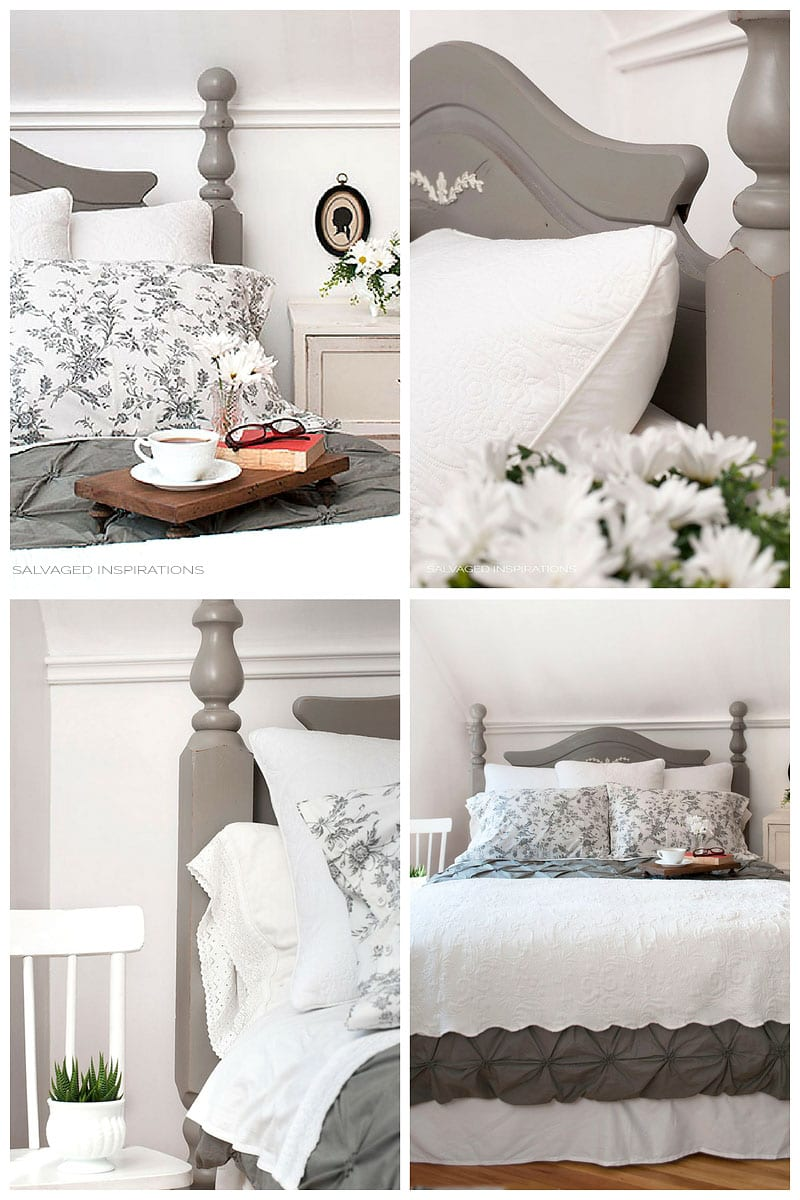 Annie Sloan French Linen Painted Headboard - Salvaged Inspirations Master Makeover