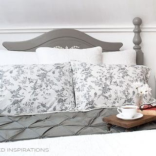 Master Bed Makeover w Painted Salvaged Head Board