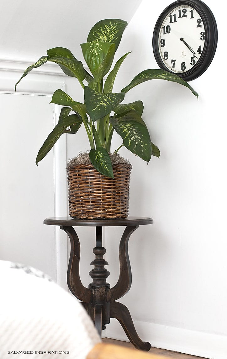 Black Washed Plant Stand - Bedroom Makeover