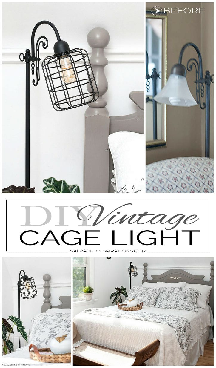 DIY Vintage Cage Light Collage. DIY Vintage Cage Light   Salvaged Inspirations