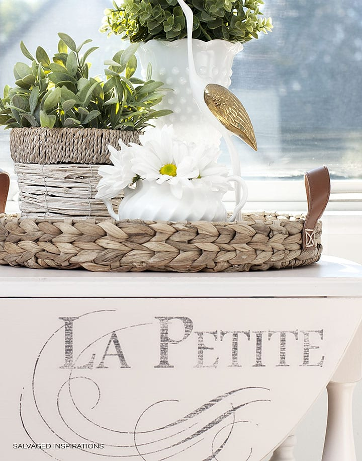 La Petite Iron Orchid Graphic on Painted Tea Cart