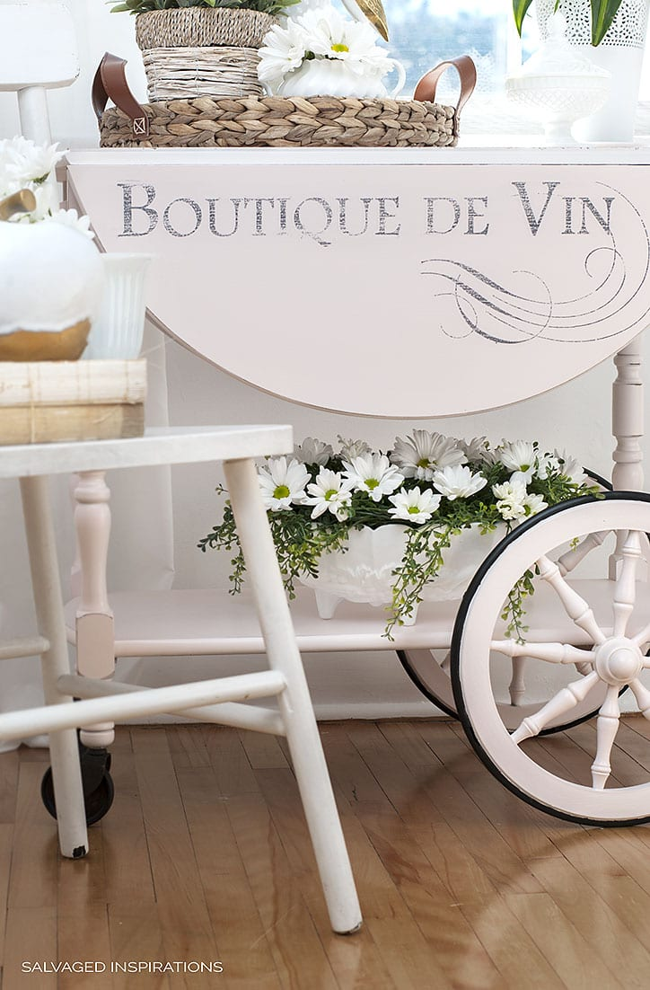 Pink Champagne Tea Cart With French Graphic Design