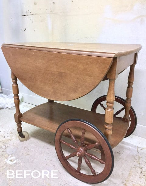 Thrift Store Vintage Tea Cart - BEFORE