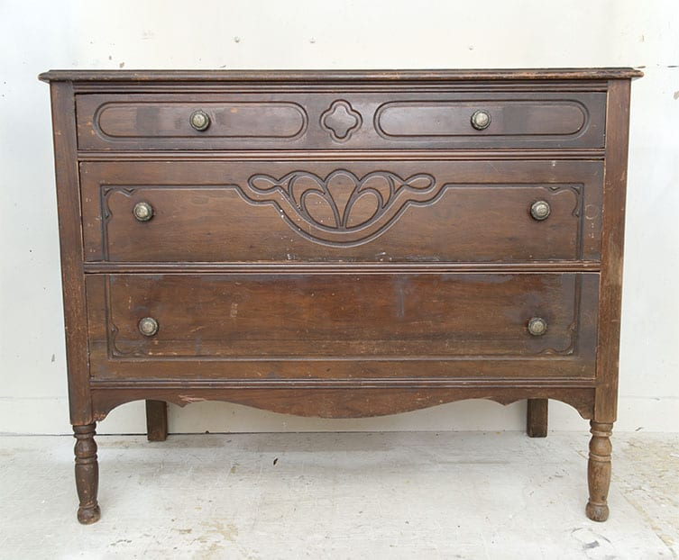 Antique Dresser Before - Raw Wood Makeover