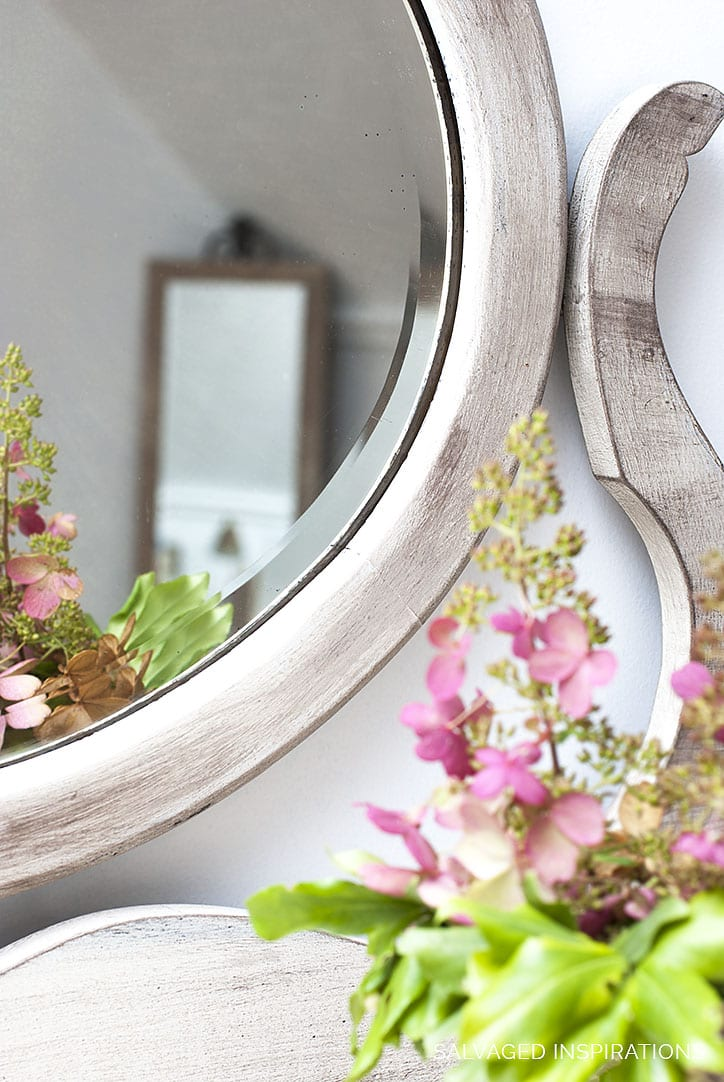 Beveled Mirror with Weathered Painted Finish