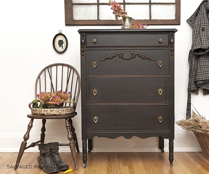 Vintage Tall Dresser + Chair Painted in DB Caviar
