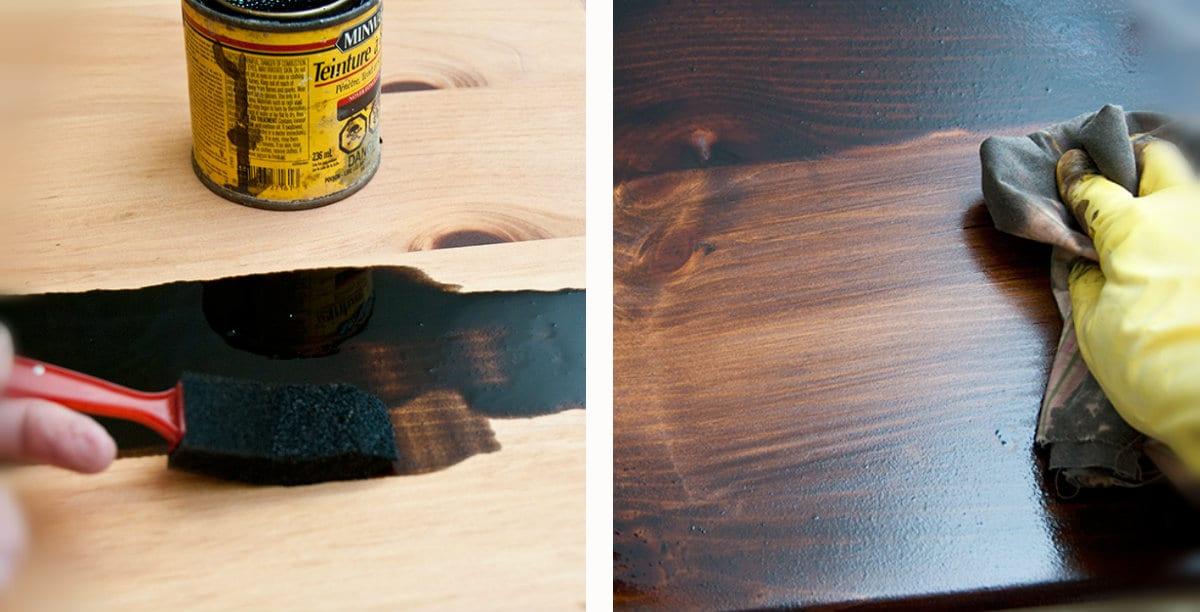 Minwax Dark Walnut over Minwax Pecan