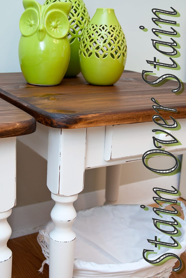 stained side tables